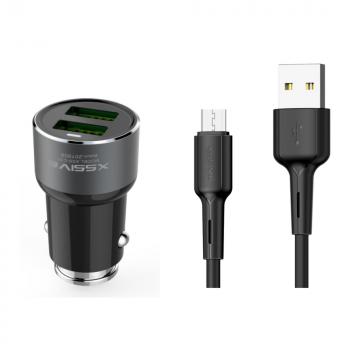 Xssive 18W Autolader 2 Usb met Micro Usb Kabel